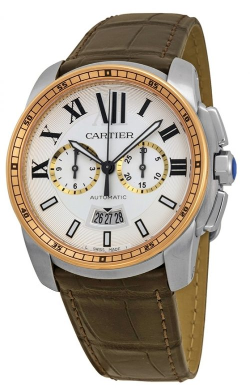 Cartier Calibre de Cartier Herrklocka W7100043 Silverfärgad/Läder