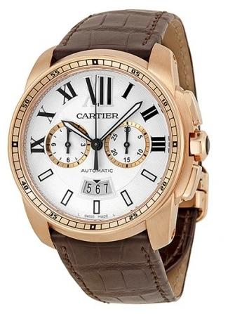 Cartier Calibre de Cartier Herrklocka W7100044 Silverfärgad/Läder
