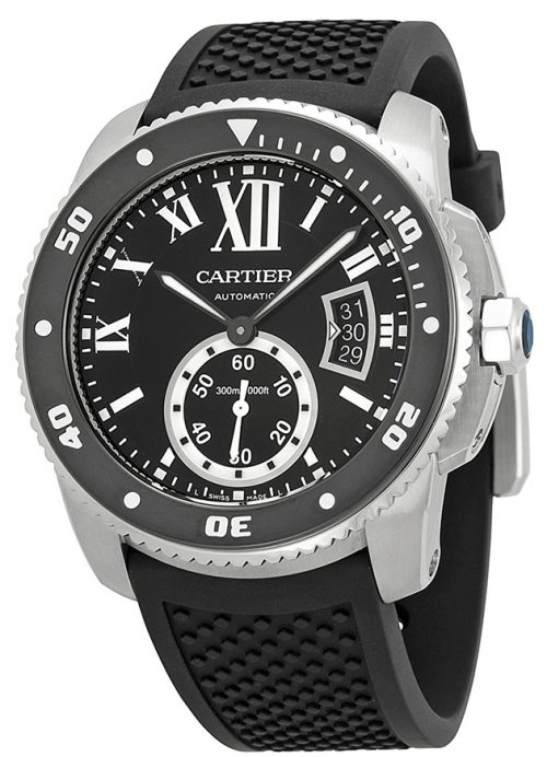 Cartier Calibre de Cartier Herrklocka W7100056 Svart/Gummi Ø42 mm