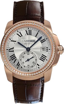 Cartier Calibre de Cartier Herrklocka WF100013 Silverfärgad/Läder