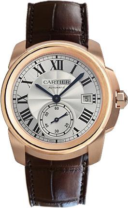 Cartier Calibre de Cartier Herrklocka WGCA0003 Silverfärgad/Läder