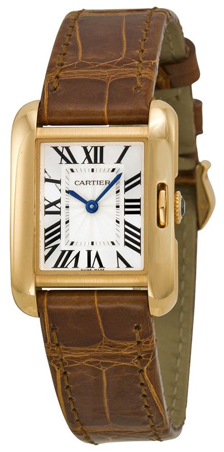 Cartier Tank Anglaise Damklocka W5310042 Silverfärgad/Läder