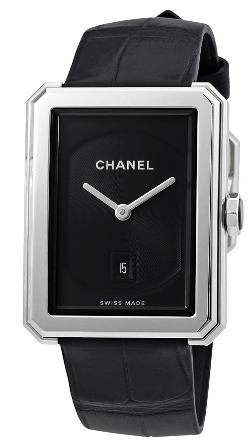 Chanel Boy-Friend Damklocka H4884 Svart/Läder