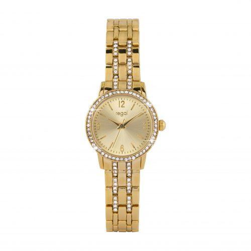 Damklocka - Klocka med guldfärgat armband och ljus urtavla