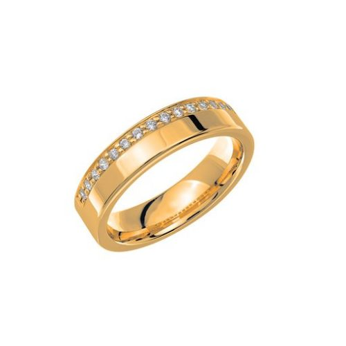Diamantring i 18K guld, 56