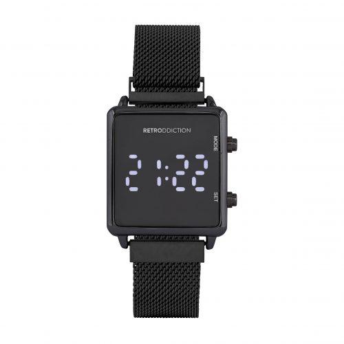 Digitalklocka Retrodicction - Fyrkantig svart med meshband