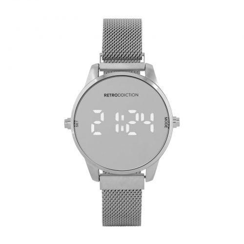 Digitalklocka Retrodicction - Silver med meshband