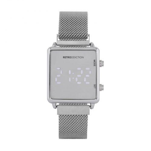 Digitalklocka Retrodicction - fyrkantig Silver med meshband