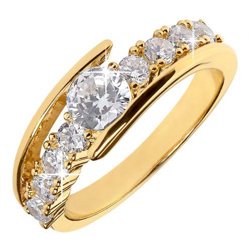 Guldpläterad ring med Kubisk Zirkonia