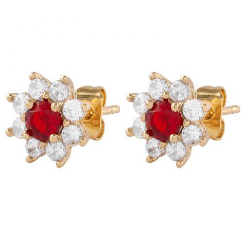 Guldpläterade örhängen - Blomma med vita och röd Kubisk Zirkonia