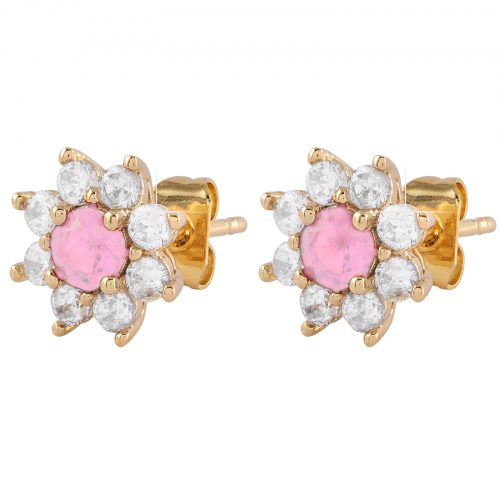 Guldpläterade örhängen - Blomma med vita och rosa Kubisk Zirkonia