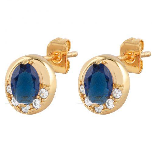Guldpläterade örhängen med blå och vit Kubisk Zirkonia