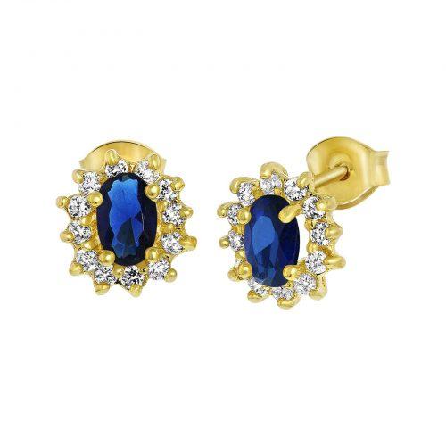 Guldpläterade örhängen med blå och vita stenar