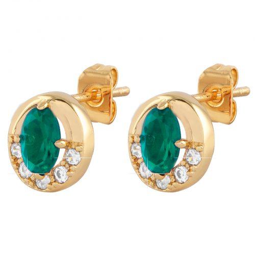 Guldpläterade örhängen med grön och vit Kubisk Zirkonia