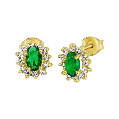 Guldpläterade örhängen med grön och vita stenar
