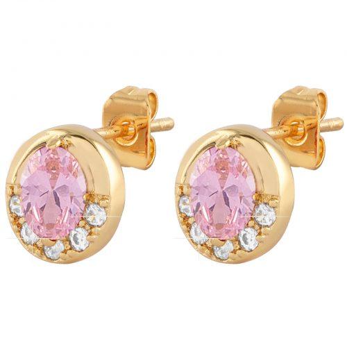 Guldpläterade örhängen med rosa och vit Kubisk Zirkonia