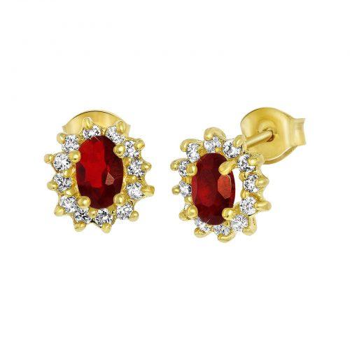 Guldpläterade örhängen med vita och röda stenar