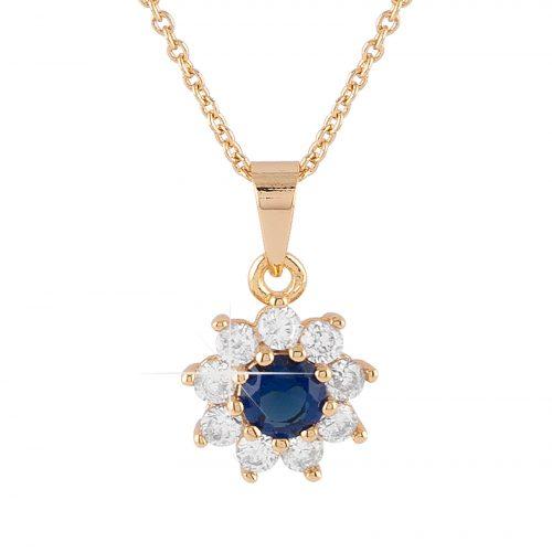 Guldpläterat halsband - Berlock blomma med blå och vita Kubisk Zirkonia