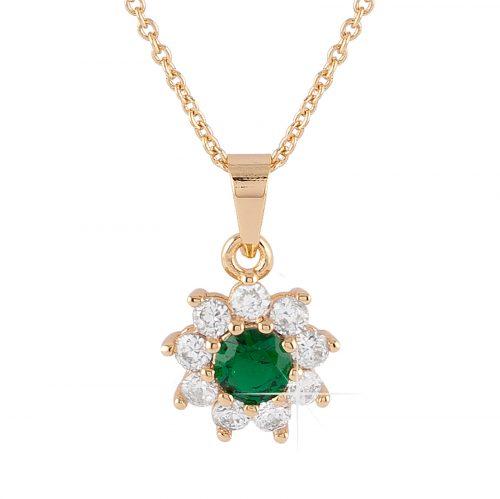 Guldpläterat halsband - Berlock blomma med grön och vita Kubisk Zirkonia