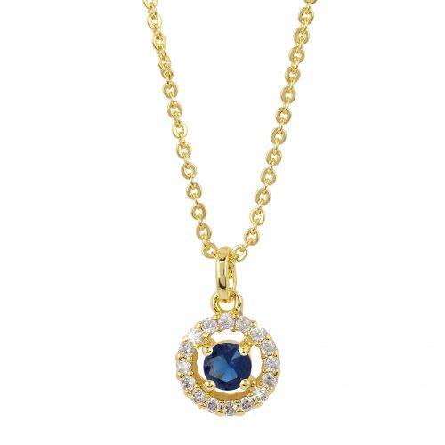 Guldpläterat halsband - Berlock med blå och vita Kubisk Zirkonia
