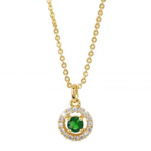 Guldpläterat halsband - Berlock med grön och vita Kubisk Zirkonia