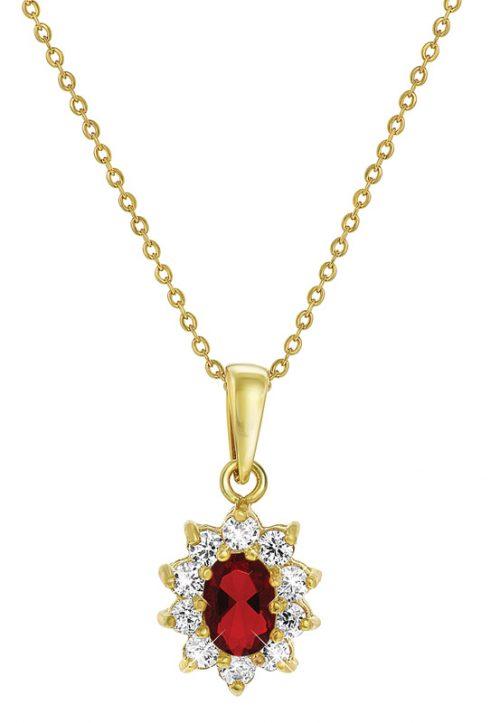 Guldpläterat halsband - Berlock med röda och vita stenar.