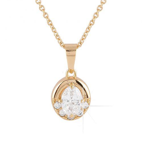 Guldpläterat halsband - Berlock med vita Kubisk Zirkonia