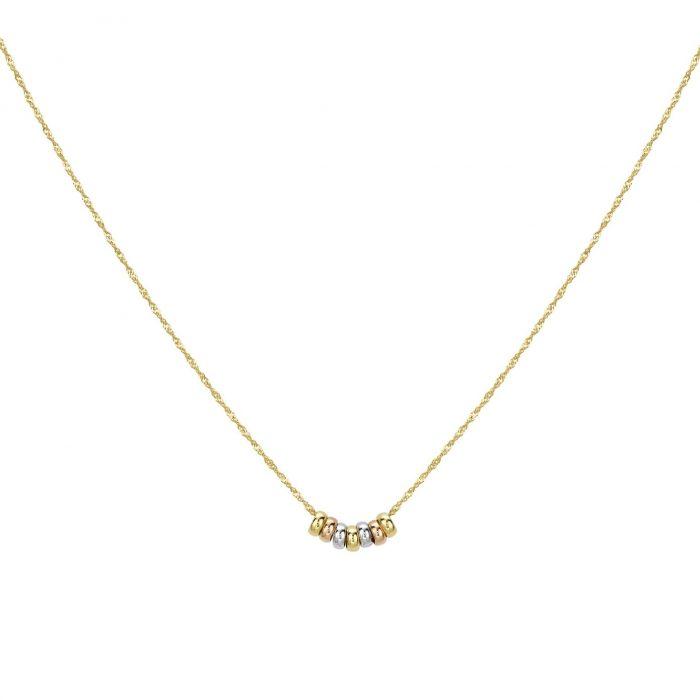 Halsband 9K Guld med berlocker tricolor