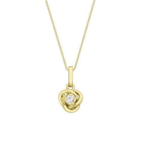 Halsband 9k Guld 46 cm - Knut med Kubik Zirkonia