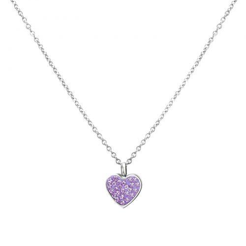 Halsband för barn - stål med lila stenar