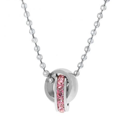 Halsband för barn - stål med rosa stenar