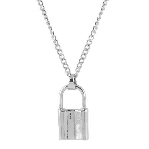 Halsband med hänglås silver