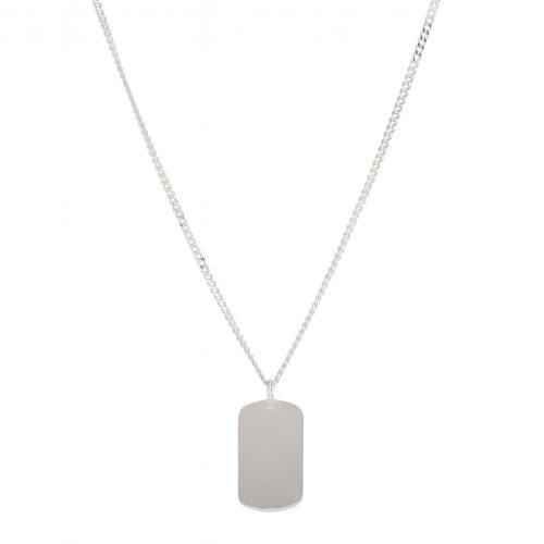 Halsband silver - Berlock Bricka herr