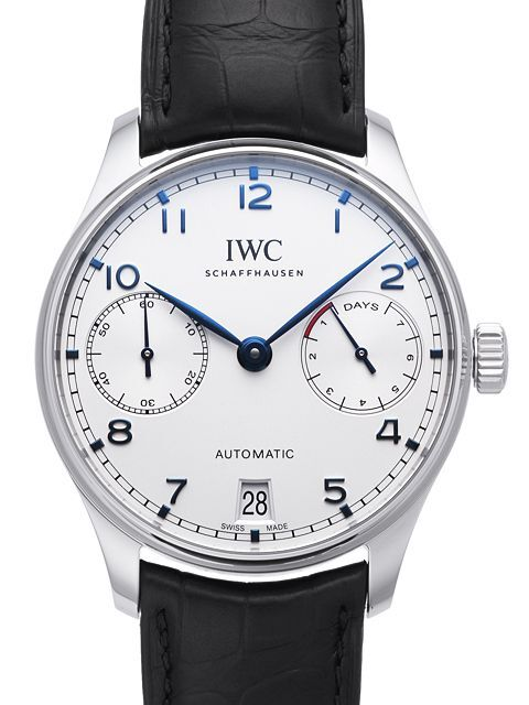 IWC Portuguese Herrklocka IW500705 Silverfärgad/Läder Ø42.3 mm