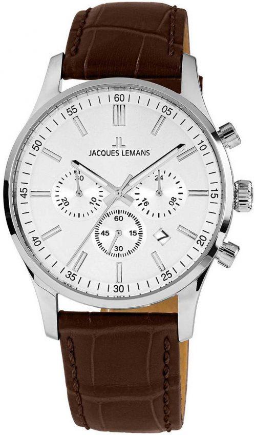 Jacques Lemans 99999 Herrklocka 1-2025B Silverfärgad/Läder Ø42 mm