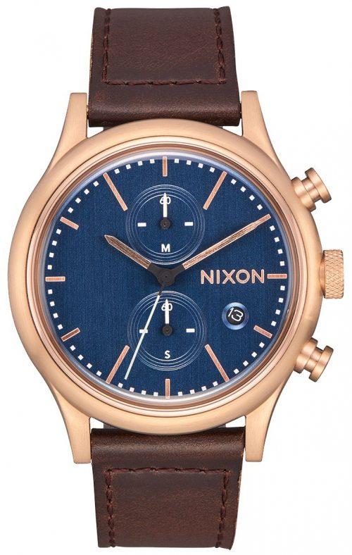Nixon 99999 Herrklocka A11632629-00 Blå/Läder Ø41 mm