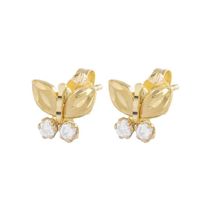 Örhängen 18k guld - Fjäril med Kubisk Zirkonia