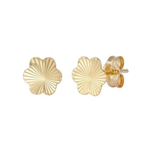 Örhängen 18k guld - blommor med facetter