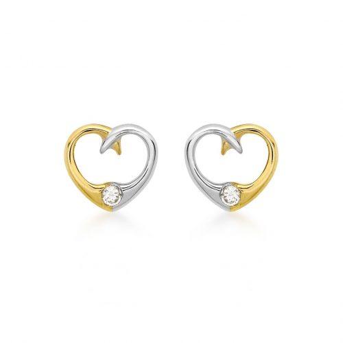Örhängen 9K Guld - Bicolor hjärtan