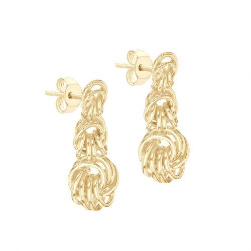 Örhängen 9K Guld - hängande knutar