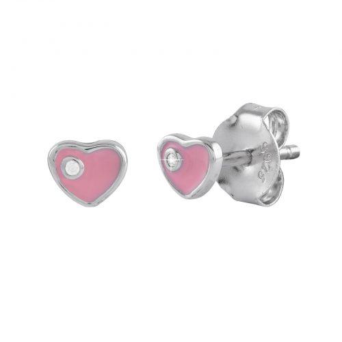 Örhängen för barn i Sterling Silver -Hjärta