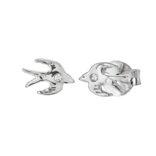 Örhängen i äkta silver med diamant