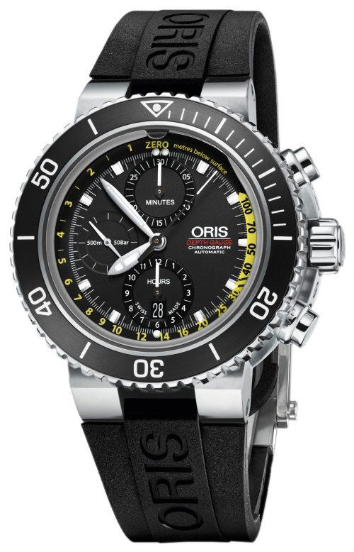 Oris Diving Herrklocka 01 774 7708 4154-Set RS Svart/Gummi Ø48 mm