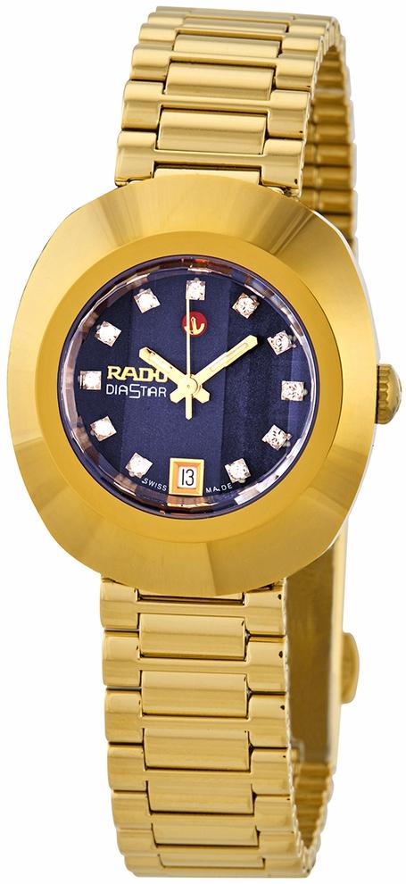 Rado Diastar Original Damklocka R12416523 Blå/Gulguldtonat stål