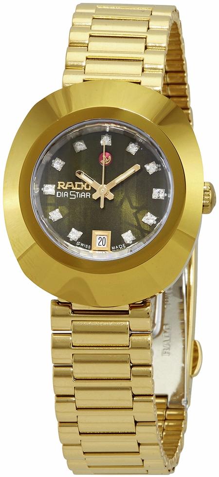 Rado Diastar Original Damklocka R12416533 Grön/Gulguldtonat stål