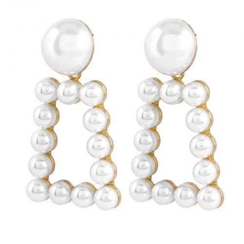 Rektangulära Trend örhängen med pärlor