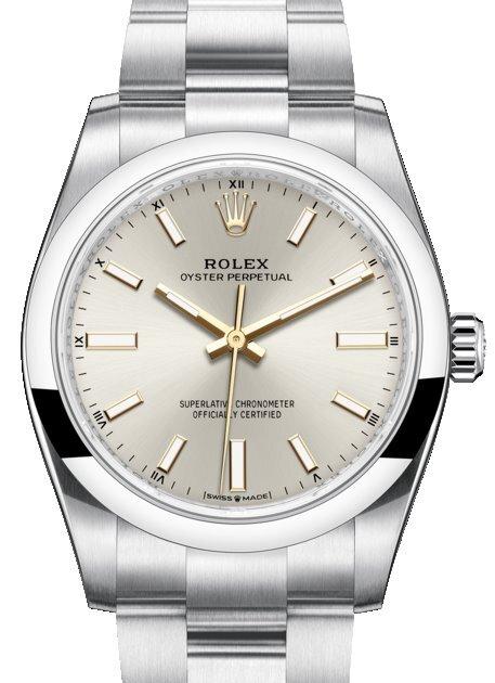 Rolex 99999 Damklocka 124200-0001 Silverfärgad/18 karat vitt guld