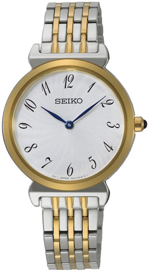 Seiko Classic Damklocka SFQ800P1 Vit/Gulguldtonat stål Ø30 mm