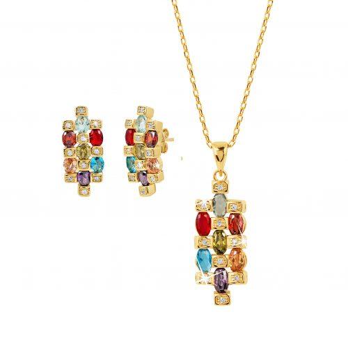 Set med guldpläterade örhängen och halsband - Multicolor