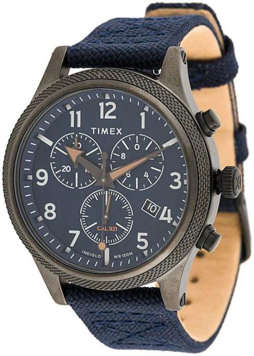 Timex Allied Herrklocka TW2T75900 Blå/Läder Ø42 mm